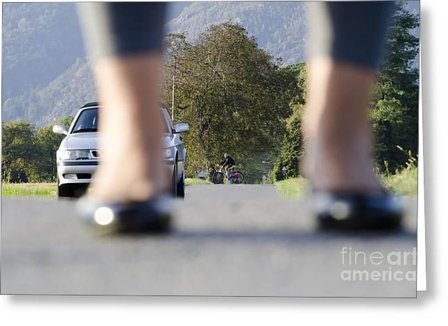 Leg Lamp Greeting Cards - Legs and car Greeting Card by Mats Silvan