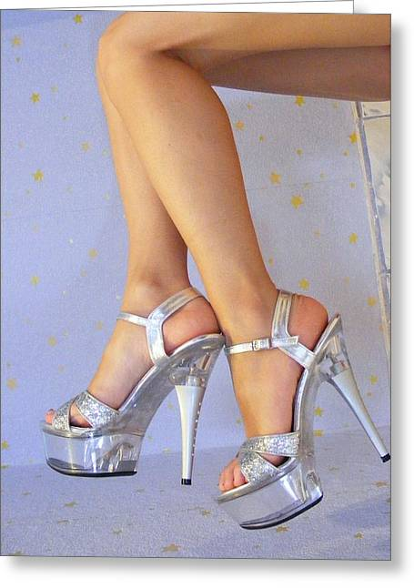 Clear Shoes Greeting Cards - Legs and heels Greeting Card by FL collection