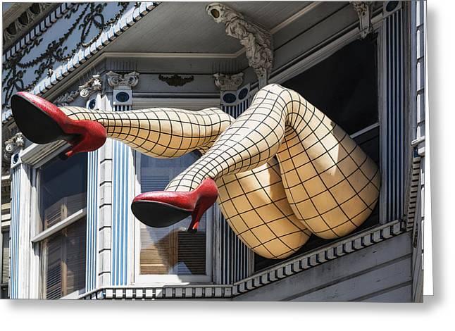Haight Ashbury Greeting Cards - Legs Art in Hairght-Ashbury district in San Francisco Greeting Card by Carol M Highsmith