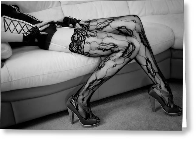 Suspenders Greeting Cards - Legs in Pretty Lace. Greeting Card by David Hare