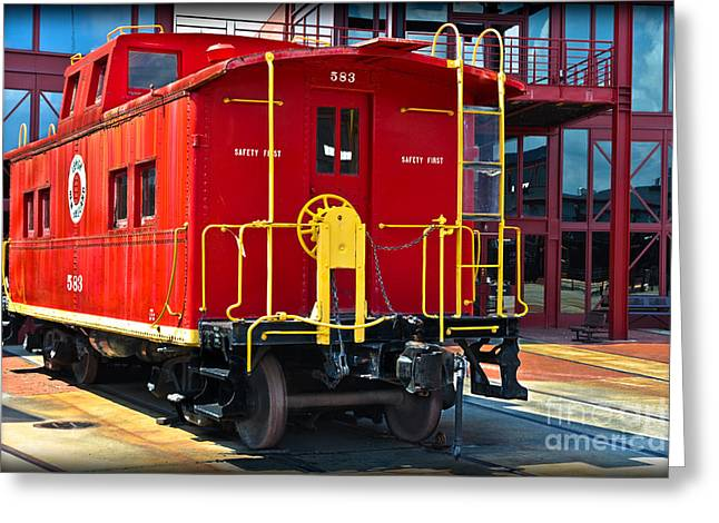 Road Crew Greeting Cards - Lehigh New England Railroad Caboose 583 Greeting Card by Gary Keesler