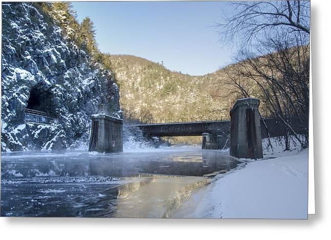 Snowy Roads Digital Art Greeting Cards - Lehigh River - Glen Onoko Park  Greeting Card by Bill Cannon