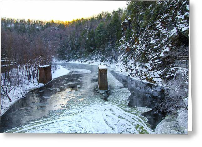 Snowy Roads Digital Art Greeting Cards - Lehigh River - Glen Onoko Park - Jim Thorpe Pa Greeting Card by Bill Cannon