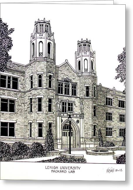 College Campus Buildings Drawings Greeting Cards - Lehigh University Greeting Card by Frederic Kohli