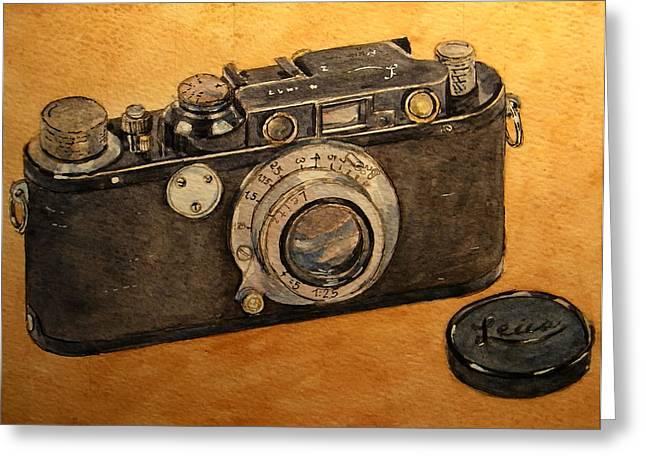 Leica II Camera Greeting Card by Juan  Bosco