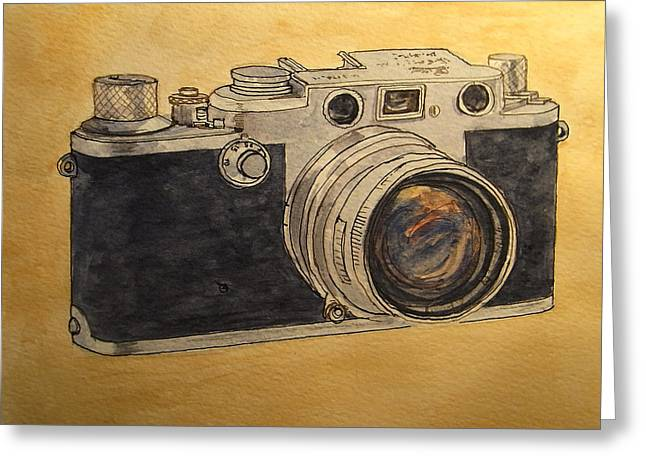 Camera Paintings Greeting Cards - Leica IIIf Greeting Card by Juan  Bosco