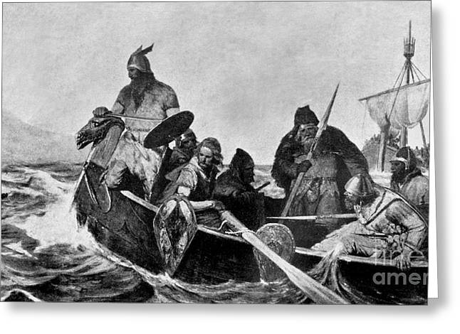Photogravure Greeting Cards - Leif Ericson Norse Explorer Greeting Card by Photo Researchers