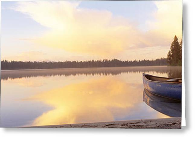 Canoe Photographs Greeting Cards - Leigh Lake, Grand Teton Park, Wyoming Greeting Card by Panoramic Images