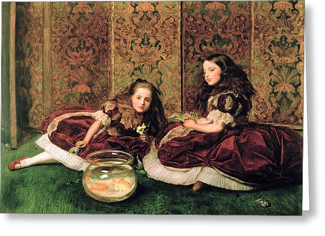 Goldfishes Greeting Cards - Leisure Hours, 1864 Oil On Canvas Greeting Card by Sir John Everett Millais
