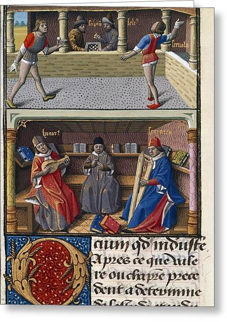 Chess Player Greeting Cards - Leisure Pursuits, 15th-century Manuscript Greeting Card by British Library