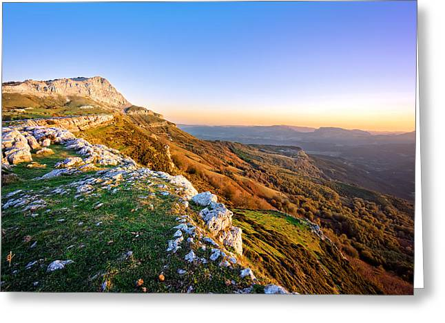 Pais Vasco Greeting Cards - lekanda peak in Gorbea at sunrise Greeting Card by Mikel Martinez de Osaba