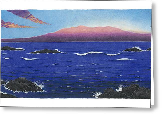 Ocean Panorama Drawings Greeting Cards - Leleiwi Dawn Greeting Card by Solveig Nordwall
