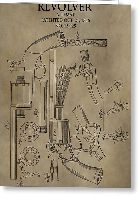 Recently Sold -  - Owner Digital Art Greeting Cards - LeMat Revolver Patent Greeting Card by Dan Sproul