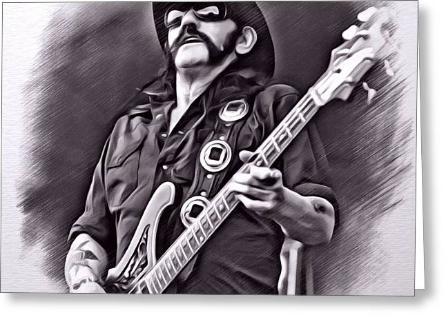 Digital Designs Greeting Cards - Lemmy Kilmister Sketch Greeting Card by Scott Wallace