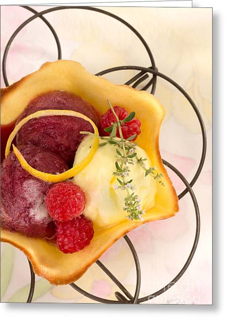 Sorbet Photographs Greeting Cards - Lemon and Berry Sorbet  Greeting Card by Iris Richardson