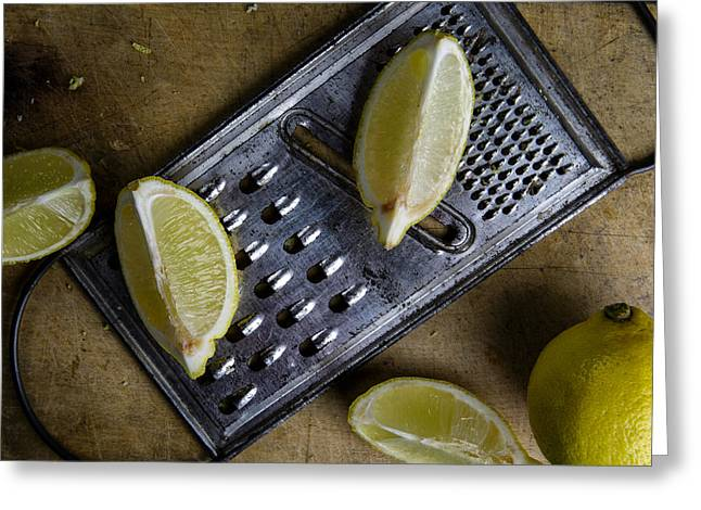 Cyan Greeting Cards - Lemon and Grater Greeting Card by Nailia Schwarz