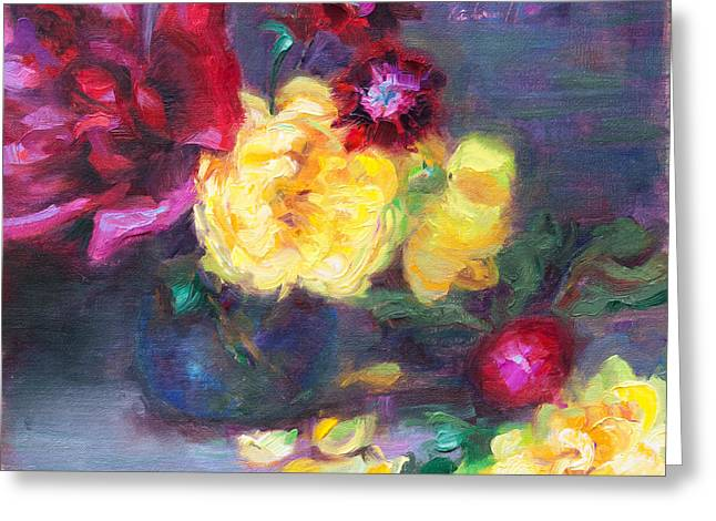 Lemon And Magenta - Flowers And Radish Greeting Card by Talya Johnson