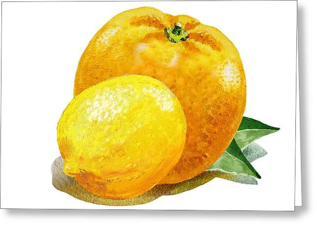 Lemon Art Greeting Cards - Lemon And Orange Happy Couple Greeting Card by Irina Sztukowski
