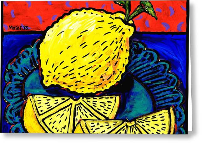 Lemon And Two Slices Greeting Card by Dale Moses
