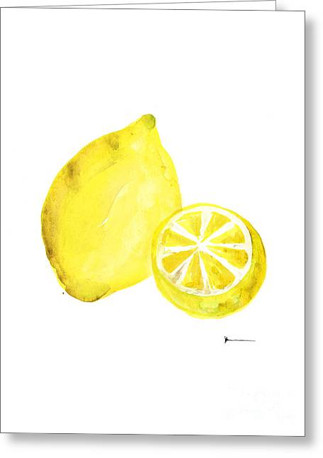 Lemon Art Print Watercolor Painting Greeting Card by Joanna Szmerdt