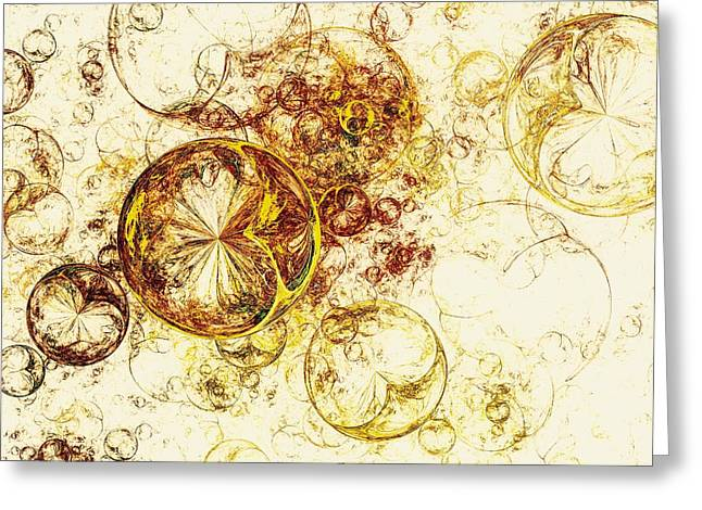Disk Mixed Media Greeting Cards - Lemon Bubbles Greeting Card by Anastasiya Malakhova