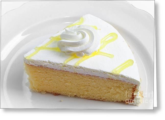 Lemon Art Greeting Cards - Lemon Chiffon Cake Slice Greeting Card by Andee Design