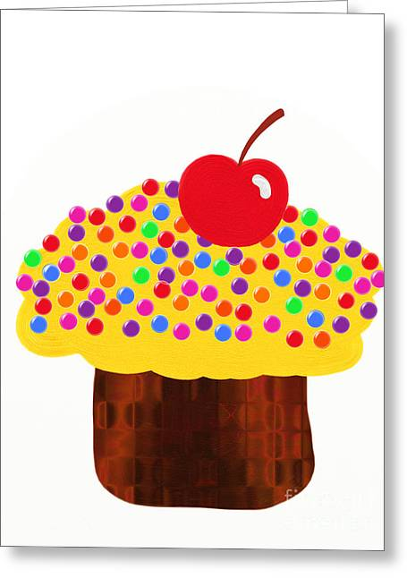 Lemon Art Greeting Cards - Lemon Cupcake Greeting Card by Andee Design