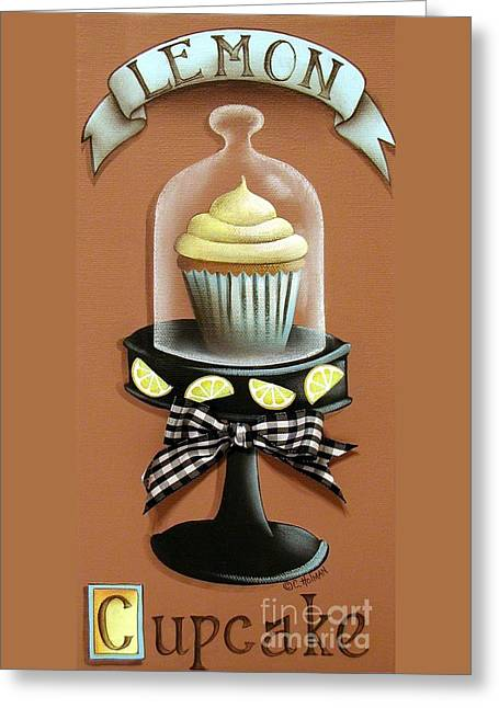 Lemon Art Greeting Card featuring the painting Lemon Cupcake by Catherine Holman