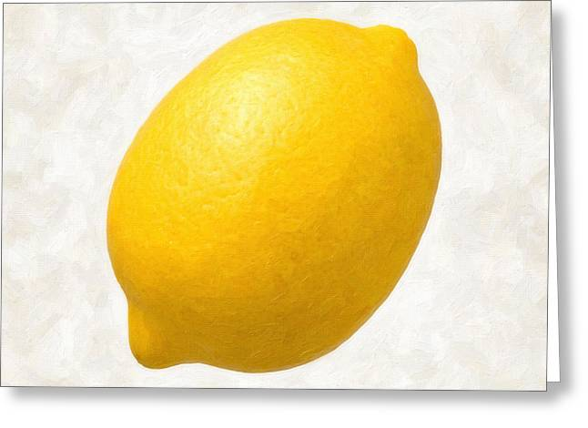 Single Object Paintings Greeting Cards - Lemon  Greeting Card by Danny Smythe