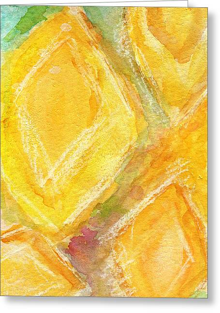 Lemon Art Greeting Cards - Lemon Drops Greeting Card by Linda Woods