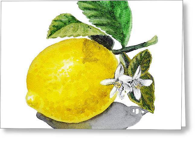 Lemon Art Paintings Greeting Cards - Lemon Flowers And Lemon Greeting Card by Irina Sztukowski