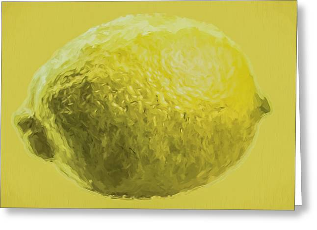 Sour Greeting Cards - Lemon Food Painted Digitally Macro Greeting Card by David Haskett