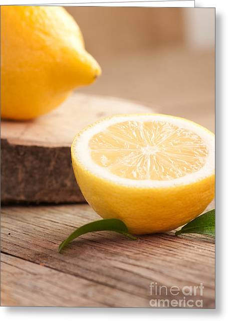 Sour Greeting Cards - Lemon fruit  Greeting Card by Mythja  Photography