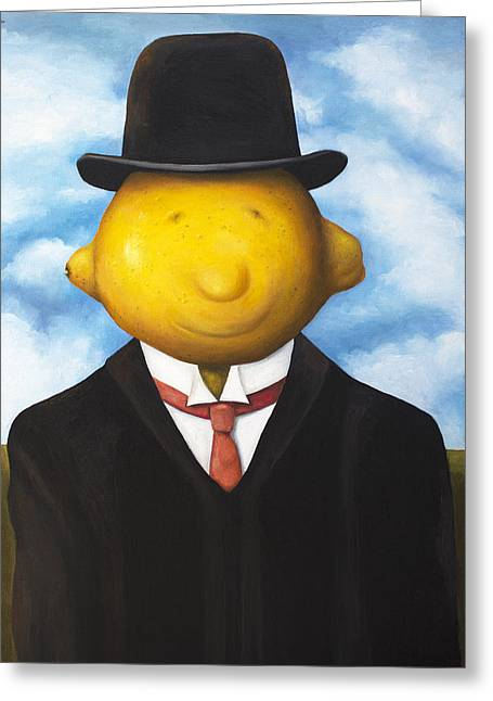 Magritte Greeting Cards - Lemon Head Greeting Card by Leah Saulnier The Painting Maniac