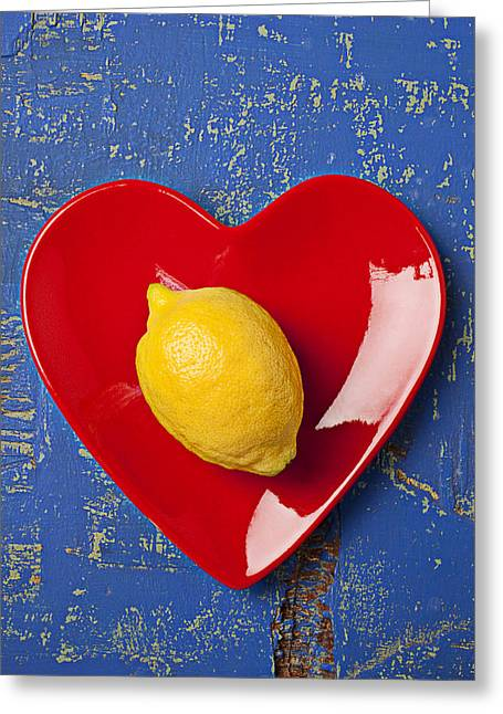 Color Colorful Greeting Cards - Lemon Heart Greeting Card by Garry Gay