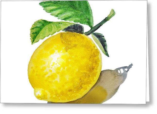 Lemon Art Greeting Cards - ArtZ Vitamins The Lemon Greeting Card by Irina Sztukowski