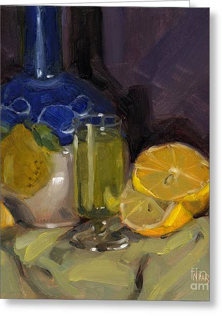 Decanters Paintings Greeting Cards - Lemon Light Greeting Card by Nancy  Parsons