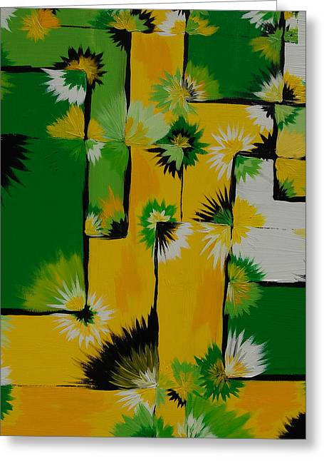 Unique Quilts Greeting Cards - Lemon Lime Blossom Query Greeting Card by Sara Gardner