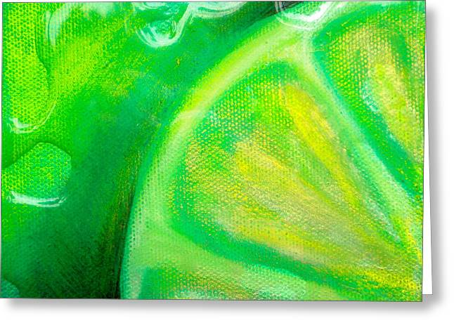 Abstractions Mixed Media Greeting Cards - Lemon Lime Greeting Card by Debi Starr