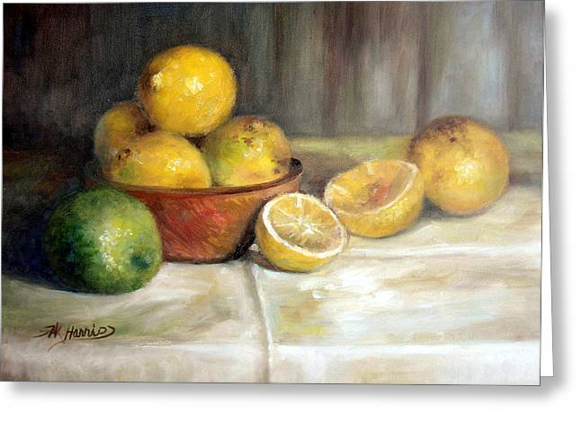 Wooden Bowl Greeting Cards - Lemon Lime Greeting Card by Sharen AK Harris