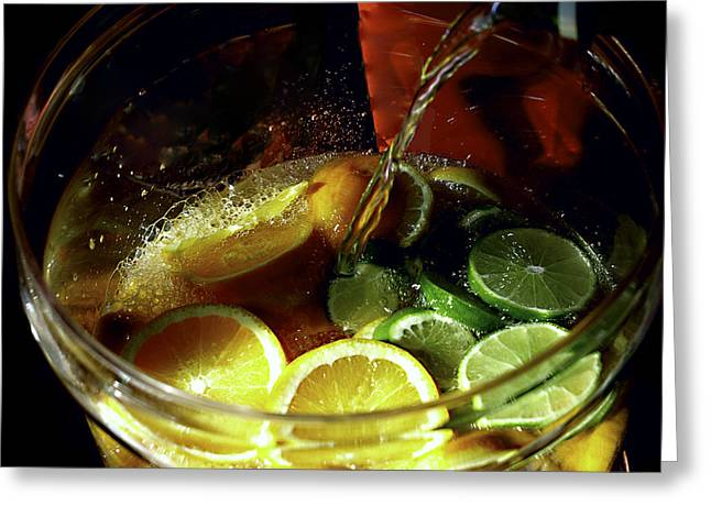 Pouring Digital Art Greeting Cards - Lemon Limeade Greeting Card by Camille Lopez
