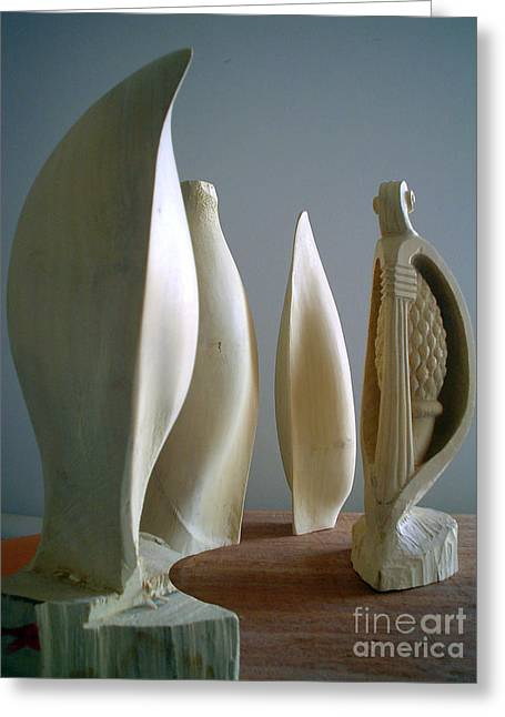 Seeds Sculptures Greeting Cards - Lemon seeds four-mulate Greeting Card by Gyula Friewald