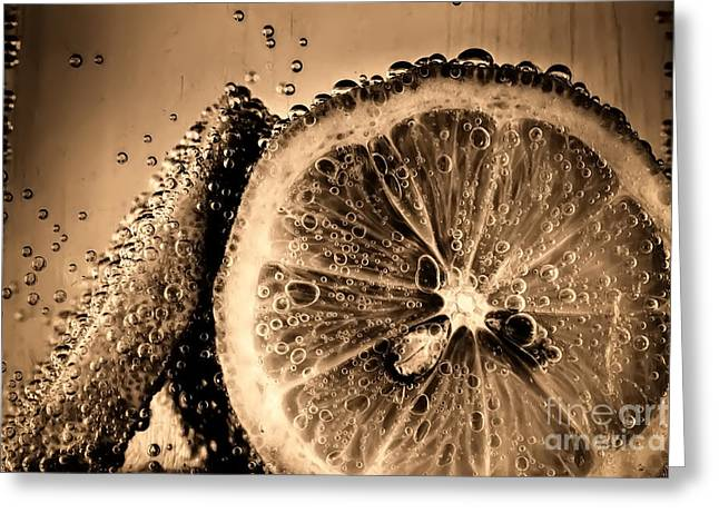 Fizz Greeting Cards - Lemon slices in fizzy water old style Greeting Card by Simon Bratt Photography LRPS