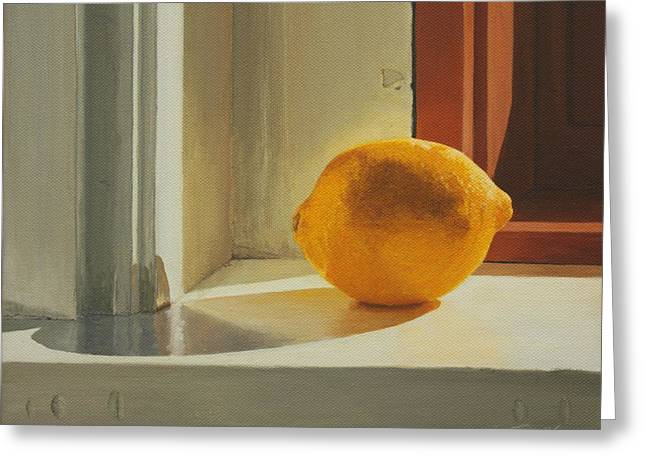 Still Life By Window Greeting Cards - Lemon Solo Greeting Card by Nancy Teague