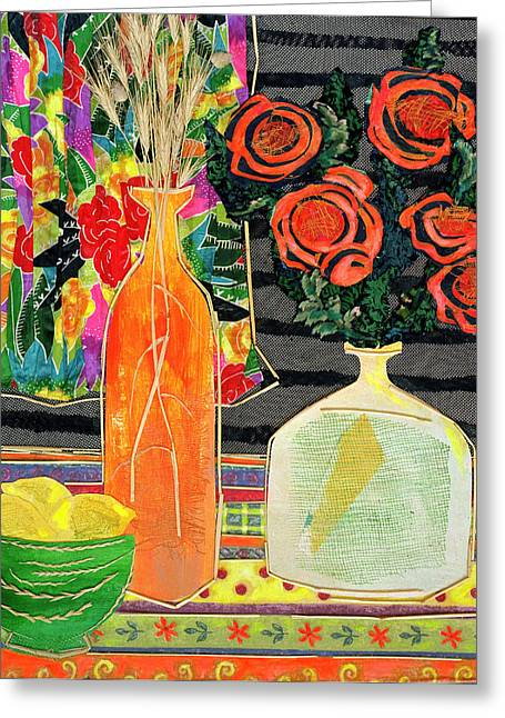 Diane Fine Greeting Cards - Lemon Squash and Pumpkin Greeting Card by Diane Fine