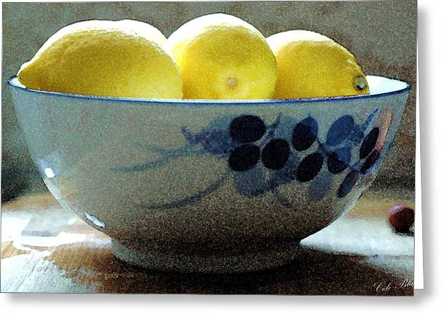 Lemon Art Drawings Greeting Cards - Lemon Still Life Greeting Card by Cole Black