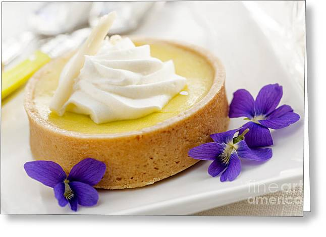 Portion Greeting Cards - Lemon tart  Greeting Card by Elena Elisseeva