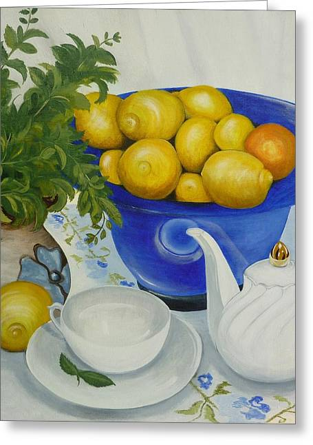Lemon Drawings Greeting Cards - Lemon Tea Greeting Card by Helen Syron