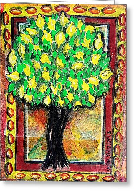 Southern France Mixed Media Greeting Cards - Lemon Tree Greeting Card by Mimulux patricia no