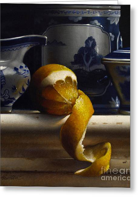 Lemons Greeting Cards - LEMON WITH CANTON vertical Greeting Card by Larry Preston